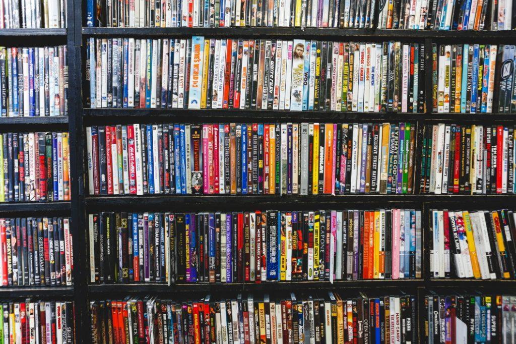 Shelf of DVDs